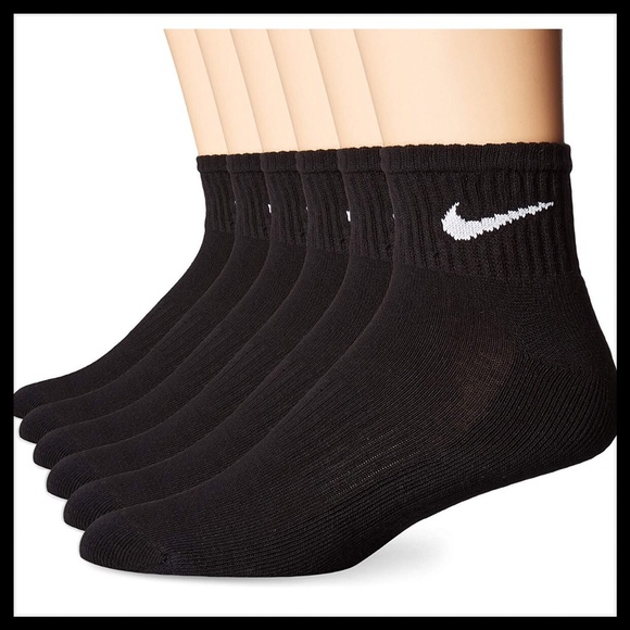 Nike Performance Cotton Cushioned Crew Socks 6 Pairs Pack Black